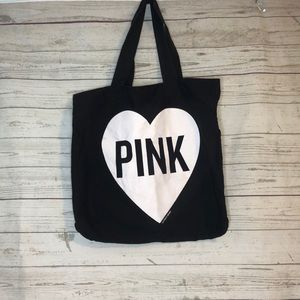 PINK Large Tote Beach Bag Oversized Black Heart